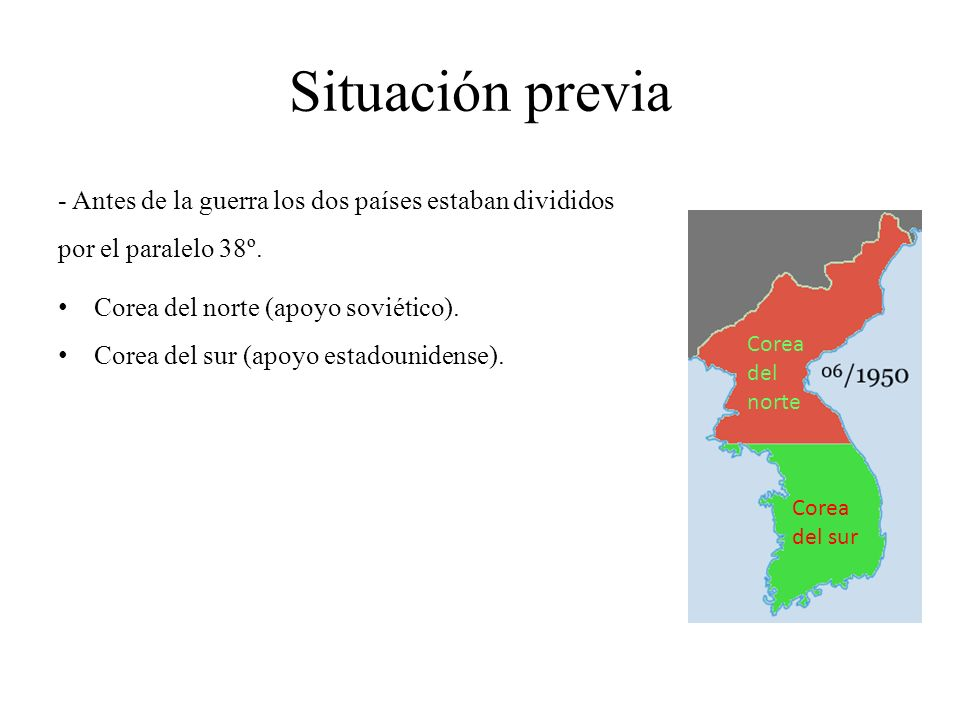 Situación previa - Antes de la guerra los dos países estaban divididos por el paralelo 38º. Corea del norte (apoyo soviético).