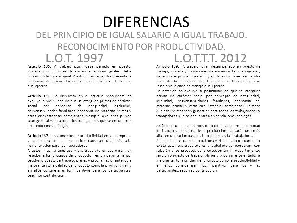 DIFERENCIAS DEL PRINCIPIO DE IGUAL SALARIO A IGUAL TRABAJO. RECONOCIMIENTO POR PRODUCTIVIDAD. L.O.T. 1997.