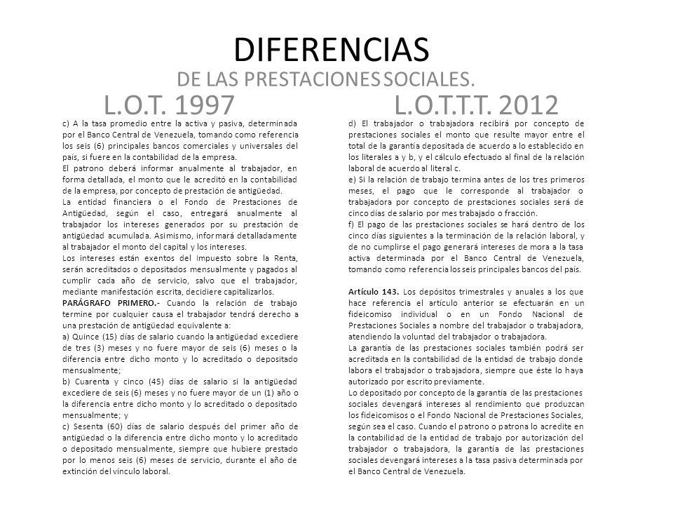 DE LAS PRESTACIONES SOCIALES.