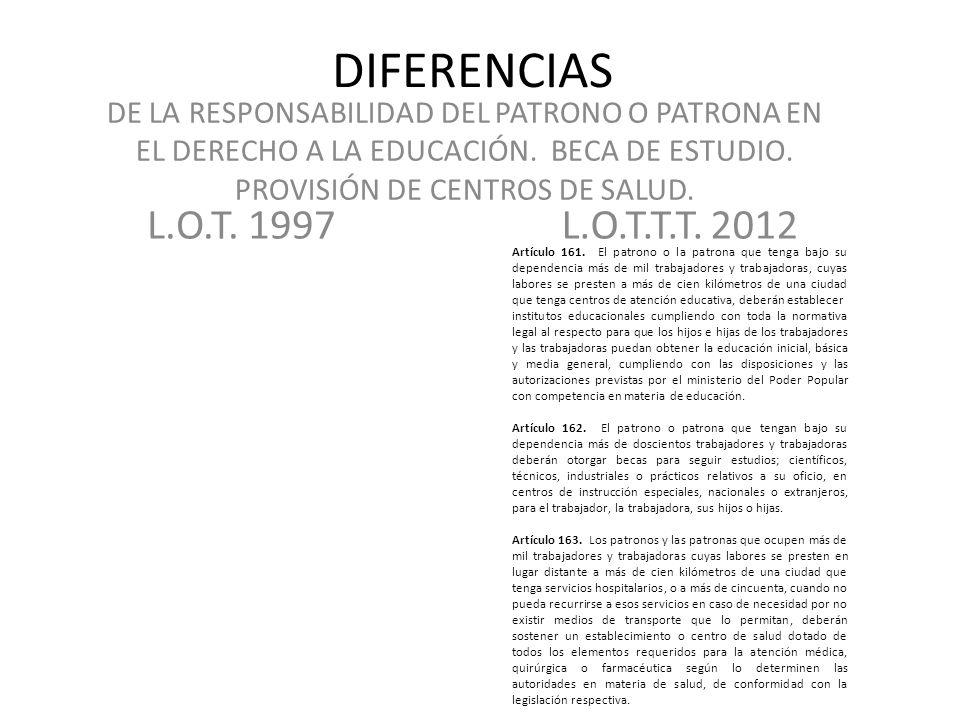 DIFERENCIAS DE LA RESPONSABILIDAD DEL PATRONO O PATRONA EN EL DERECHO A LA EDUCACIÓN. BECA DE ESTUDIO. PROVISIÓN DE CENTROS DE SALUD.
