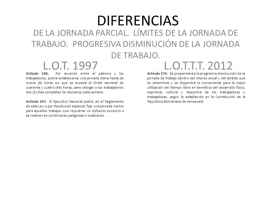 DIFERENCIAS DE LA JORNADA PARCIAL. LÍMITES DE LA JORNADA DE TRABAJO. PROGRESIVA DISMINUCIÓN DE LA JORNADA DE TRABAJO.