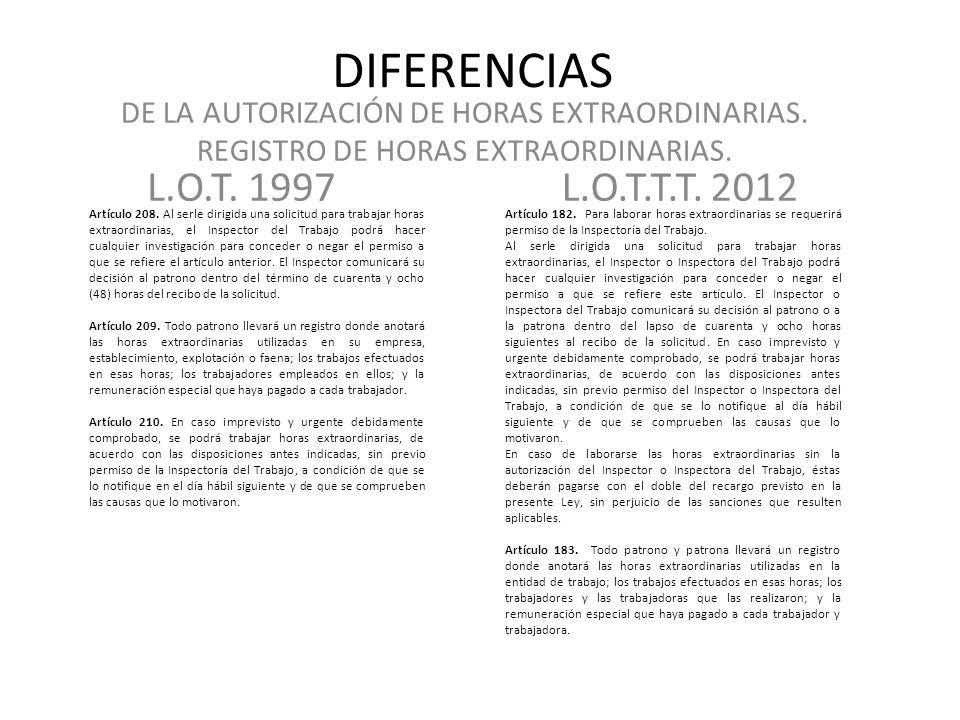 DIFERENCIAS DE LA AUTORIZACIÓN DE HORAS EXTRAORDINARIAS. REGISTRO DE HORAS EXTRAORDINARIAS. L.O.T. 1997.