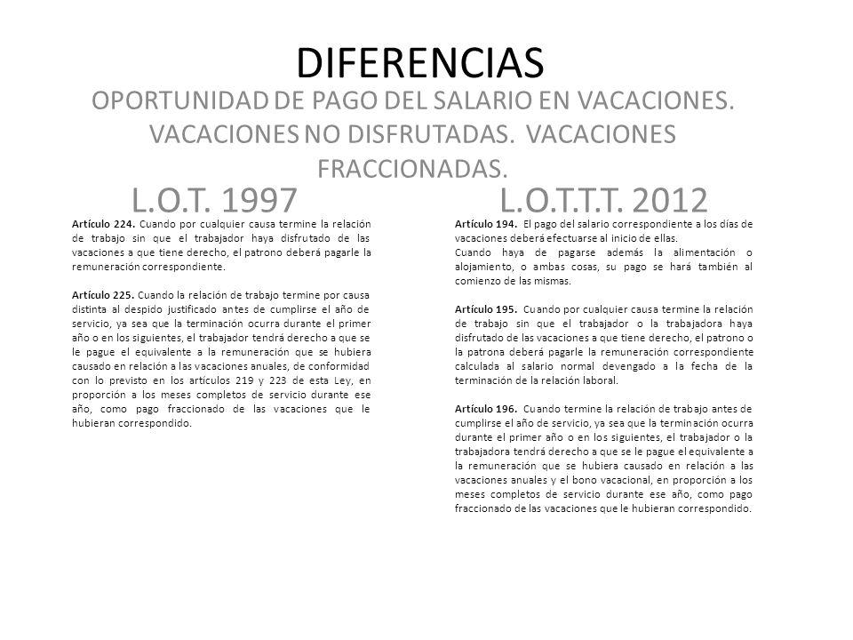 DIFERENCIAS OPORTUNIDAD DE PAGO DEL SALARIO EN VACACIONES. VACACIONES NO DISFRUTADAS. VACACIONES FRACCIONADAS.