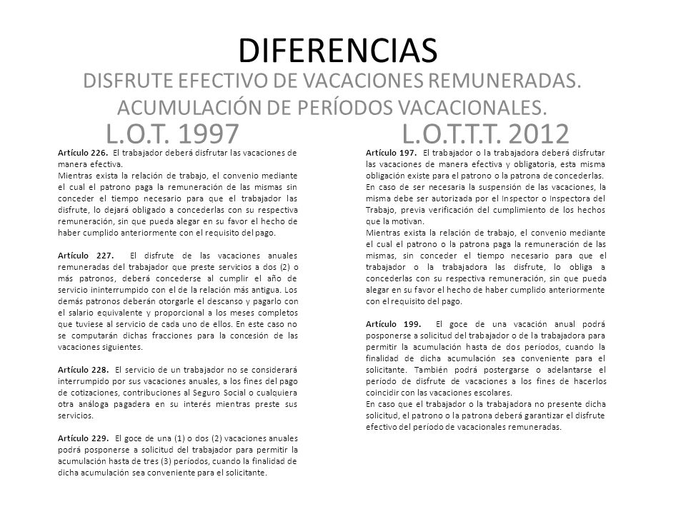 DIFERENCIAS DISFRUTE EFECTIVO DE VACACIONES REMUNERADAS. ACUMULACIÓN DE PERÍODOS VACACIONALES. L.O.T. 1997.