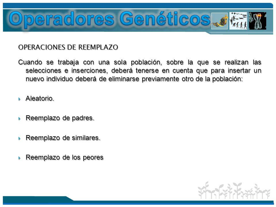 Operadores Genéticos OPERACIONES DE REEMPLAZO