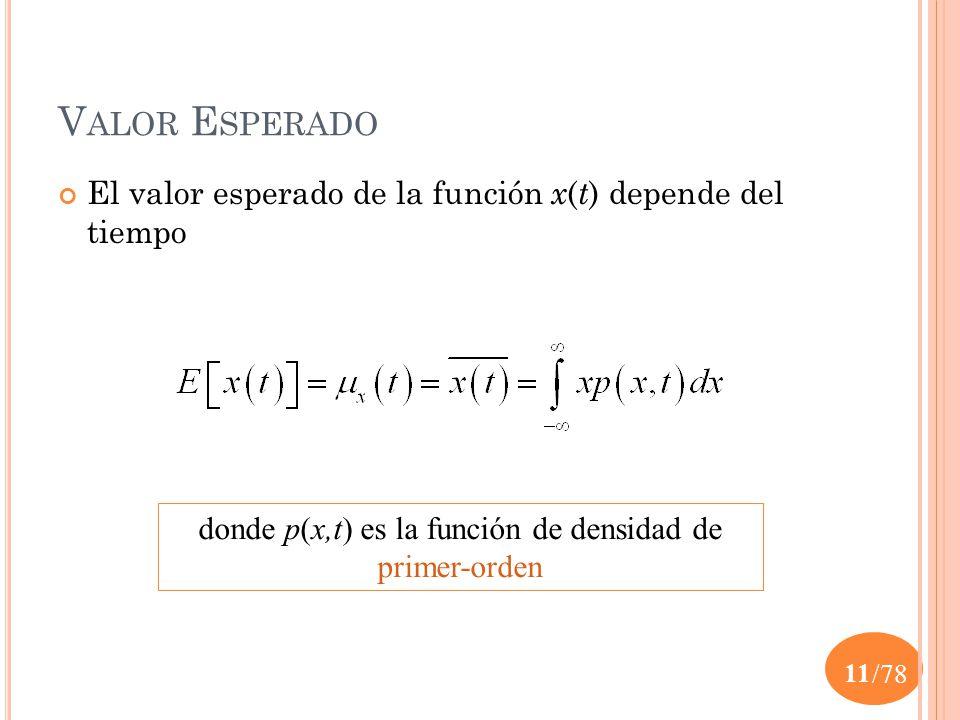 donde p(x,t) es la función de densidad de primer-orden
