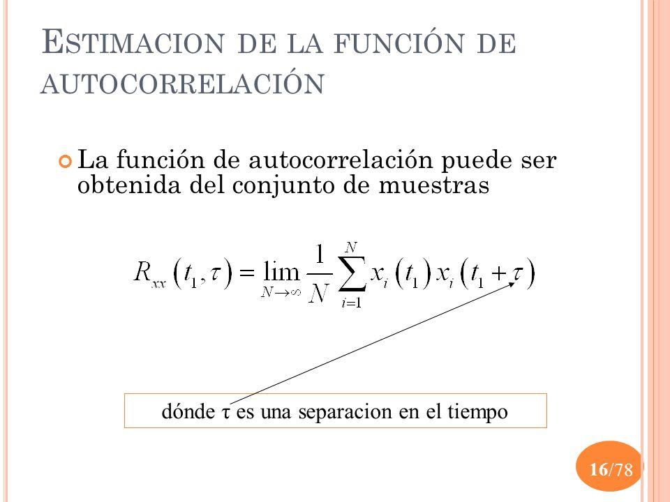 Estimacion de la función de autocorrelación