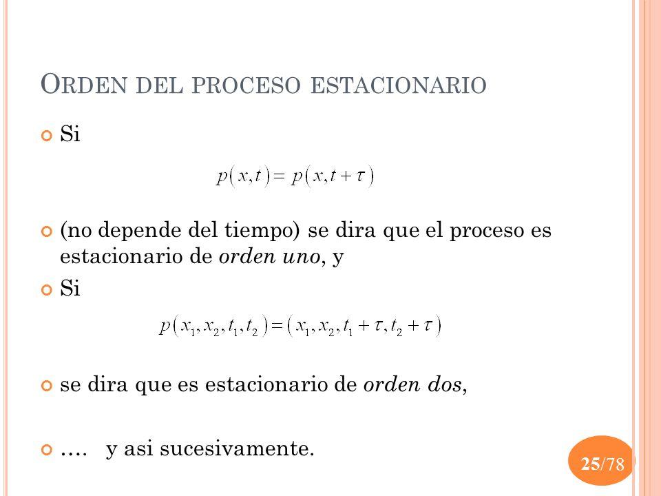 Orden del proceso estacionario