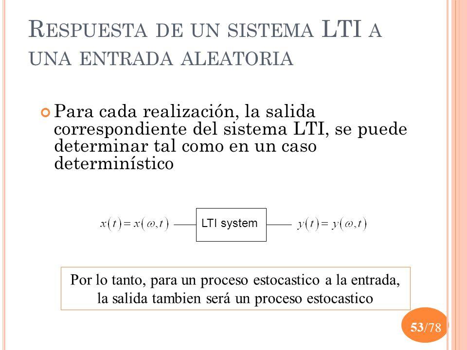 Respuesta de un sistema LTI a una entrada aleatoria
