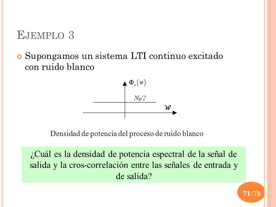 Ejemplo 3 Supongamos un sistema LTI continuo excitado con ruido blanco