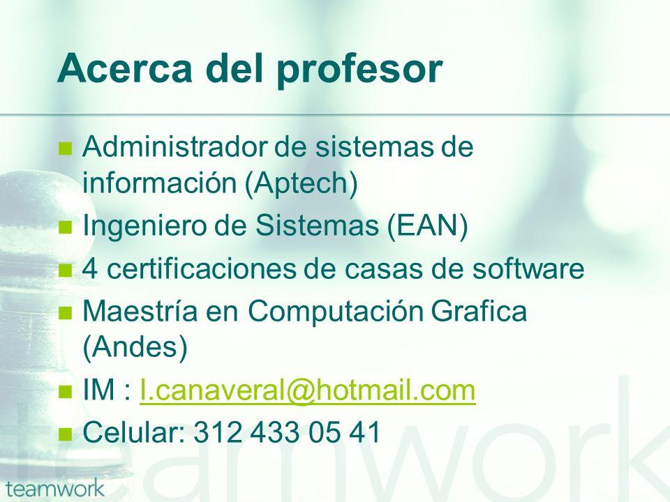 Acerca del profesor Administrador de sistemas de información (Aptech)
