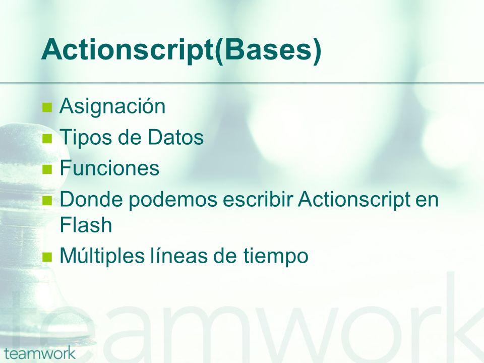 Actionscript(Bases) Asignación Tipos de Datos Funciones