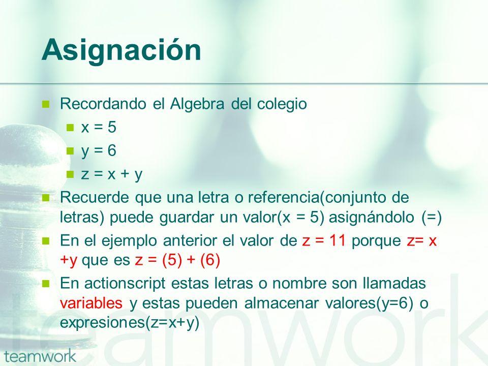 Asignación Recordando el Algebra del colegio x = 5 y = 6 z = x + y