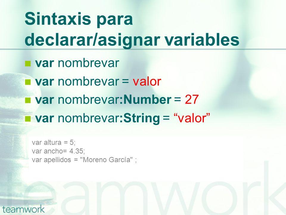 Sintaxis para declarar/asignar variables