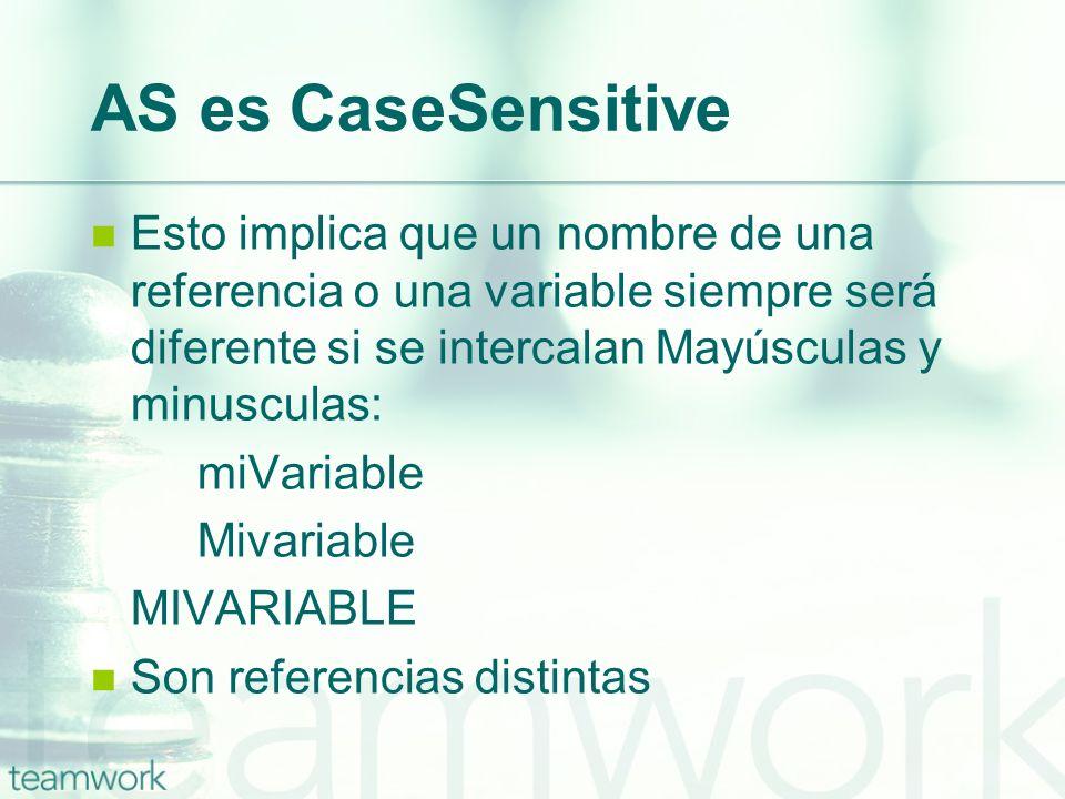 AS es CaseSensitiveEsto implica que un nombre de una referencia o una variable siempre será diferente si se intercalan Mayúsculas y minusculas: