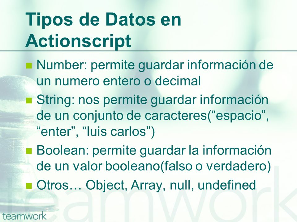 Tipos de Datos en Actionscript
