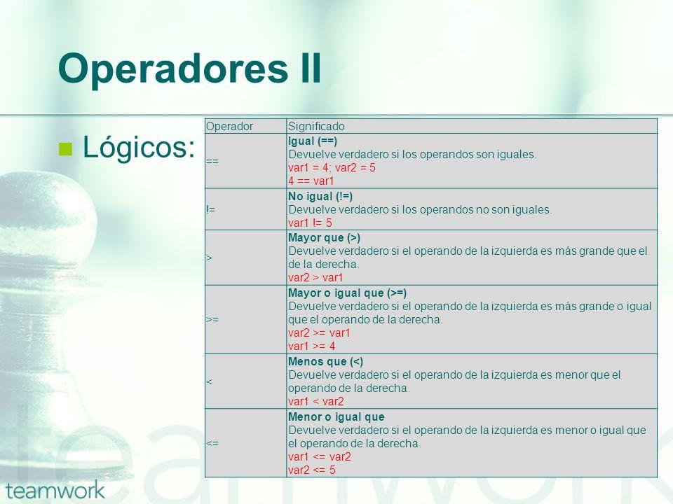 Operadores II Lógicos: Operador Significado == Igual (==)