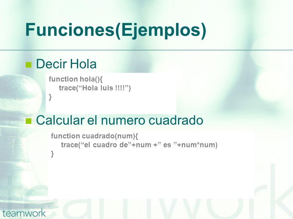 Funciones(Ejemplos) Decir Hola Calcular el numero cuadrado
