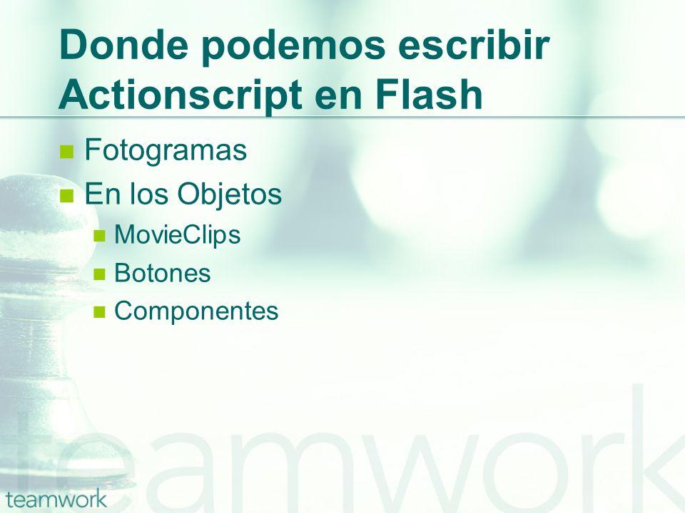 Donde podemos escribir Actionscript en Flash