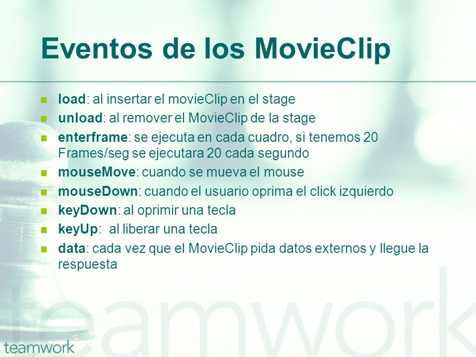 Eventos de los MovieClip