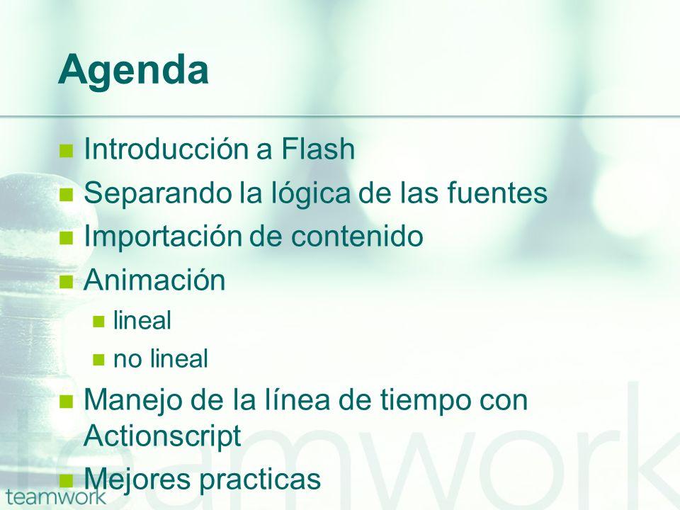 Agenda Introducción a Flash Separando la lógica de las fuentes
