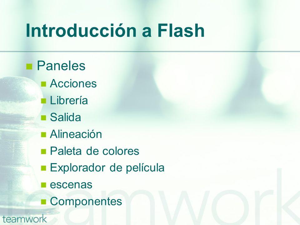 Introducción a Flash Paneles Acciones Librería Salida Alineación