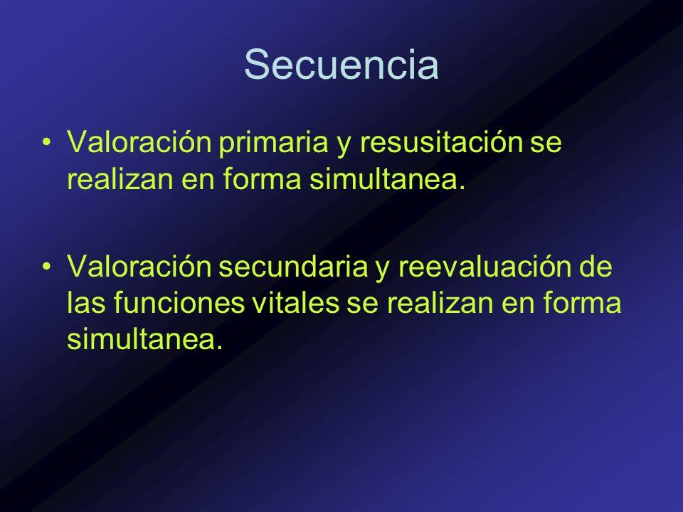 Secuencia Valoración primaria y resusitación se realizan en forma simultanea.