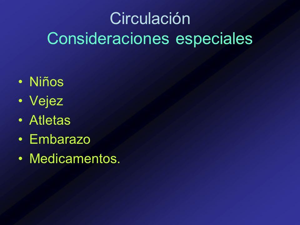 Circulación Consideraciones especiales