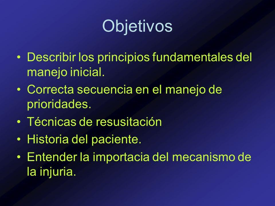 Objetivos Describir los principios fundamentales del manejo inicial.