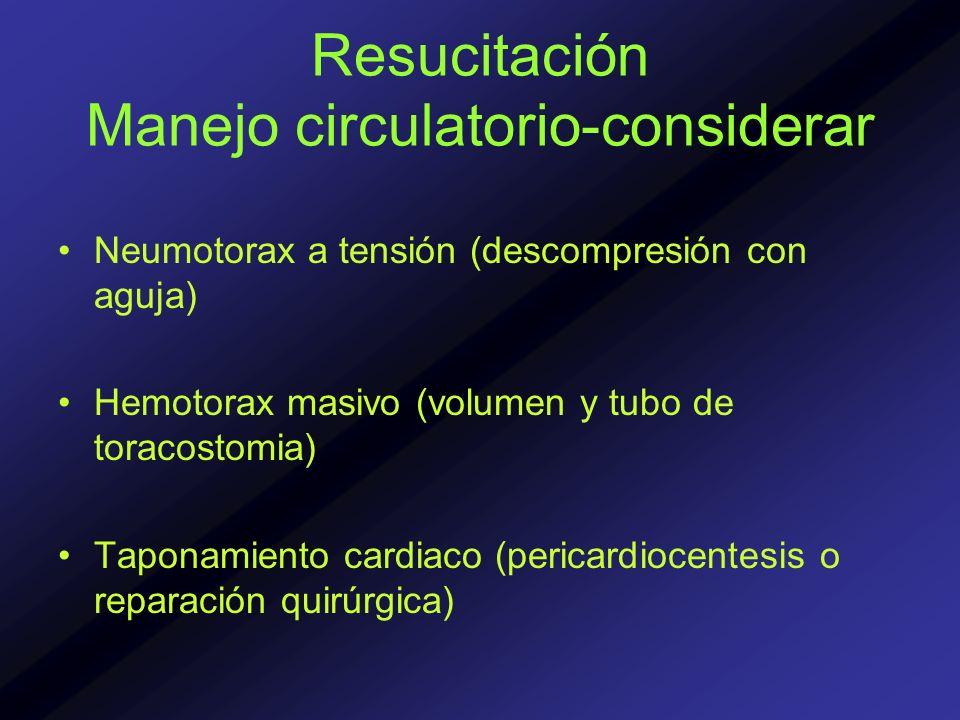 Resucitación Manejo circulatorio-considerar