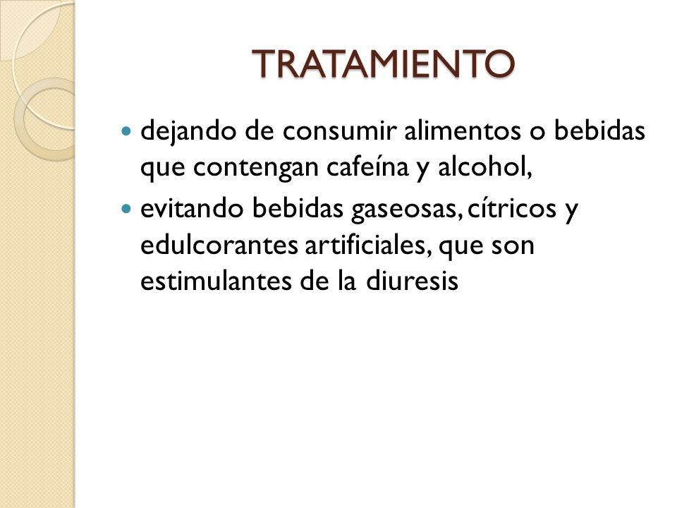 TRATAMIENTO dejando de consumir alimentos o bebidas que contengan cafeína y alcohol,