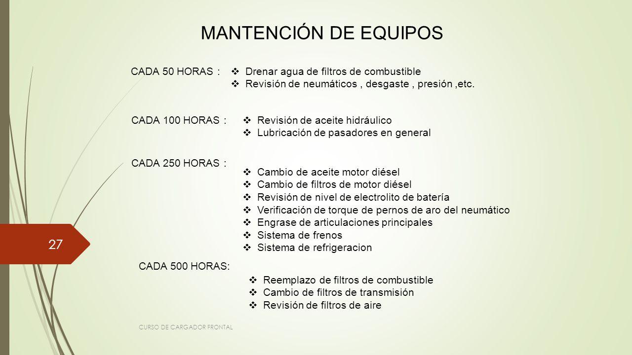 MANTENCIÓN DE EQUIPOS CADA 50 HORAS :