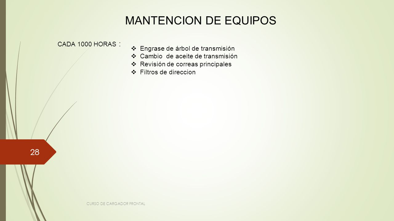 MANTENCION DE EQUIPOS CADA 1000 HORAS :