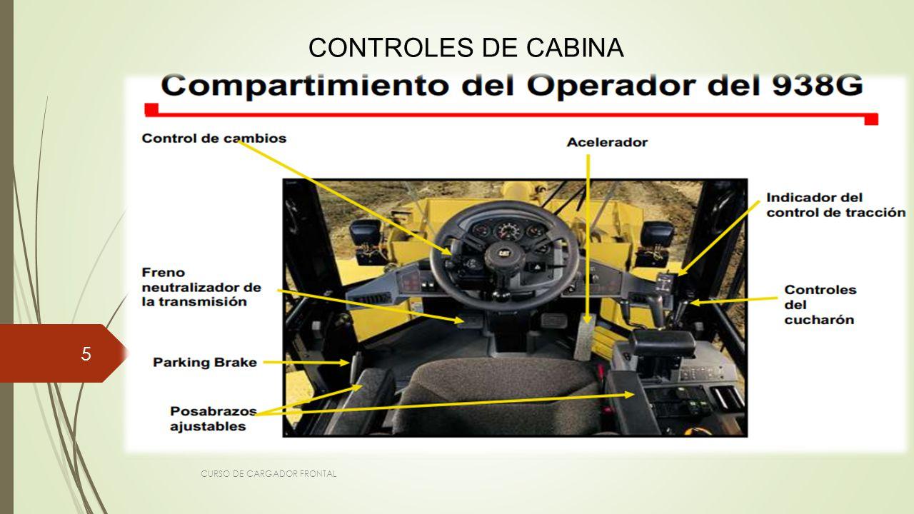 CONTROLES DE CABINA CURSO DE CARGADOR FRONTAL