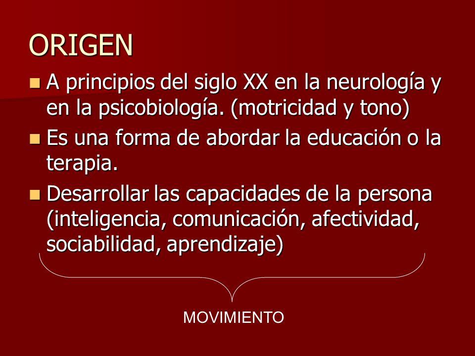 ORIGEN A principios del siglo XX en la neurología y en la psicobiología. (motricidad y tono) Es una forma de abordar la educación o la terapia.