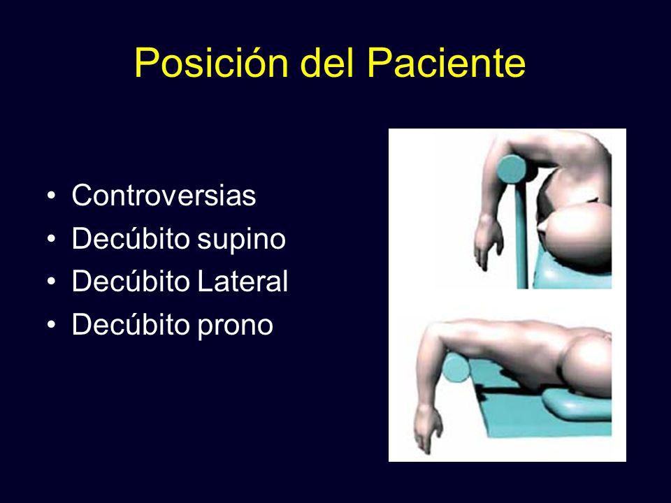 Posición del Paciente Controversias Decúbito supino Decúbito Lateral