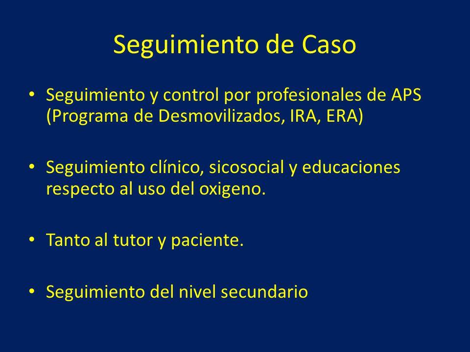 Seguimiento de Caso Seguimiento y control por profesionales de APS (Programa de Desmovilizados, IRA, ERA)