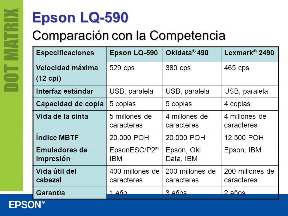 Epson LQ-590 Comparación con la Competencia Especificaciones