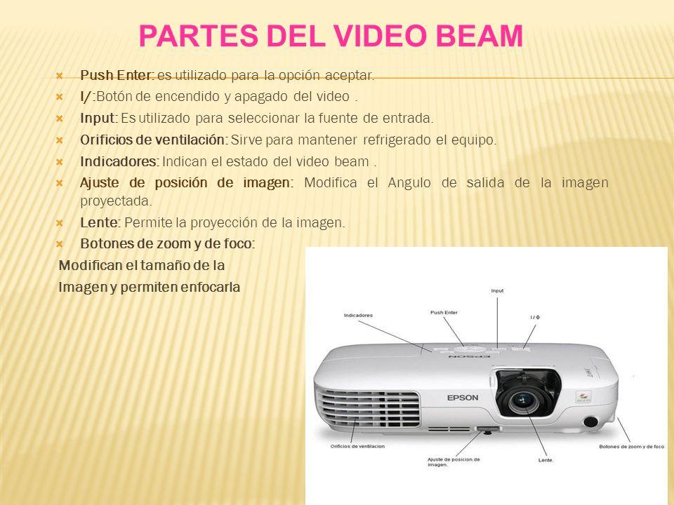 PARTES DEL VIDEO BEAM Push Enter: es utilizado para la opción aceptar.