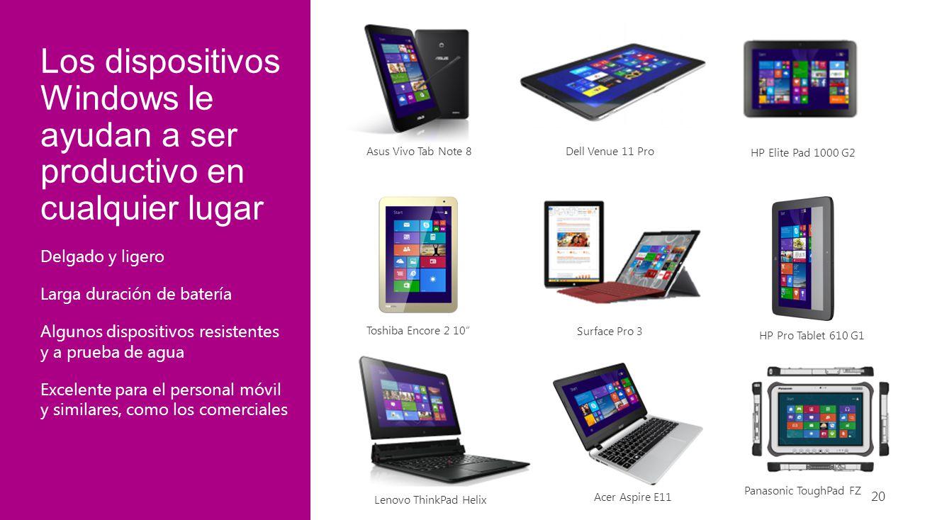 Los dispositivos Windows le ayudan a ser productivo en cualquier lugar