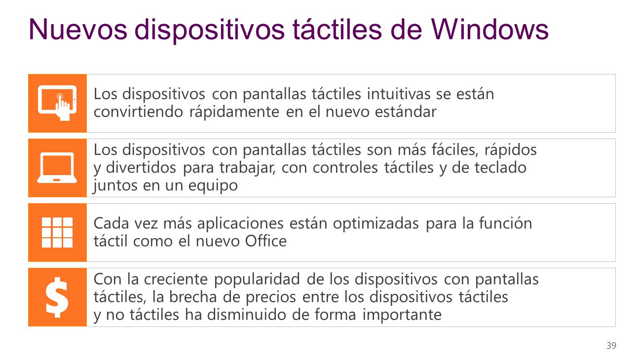 Nuevos dispositivos táctiles de Windows