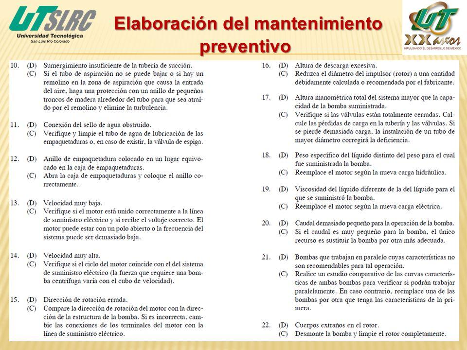 Elaboración del mantenimiento preventivo