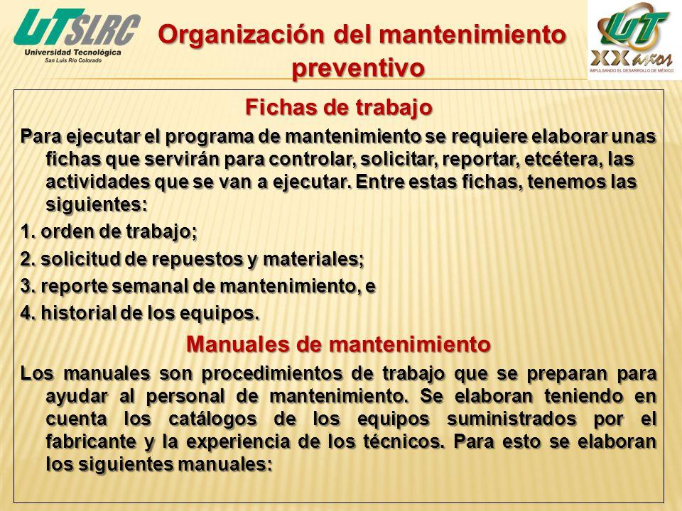 Organización del mantenimiento preventivo