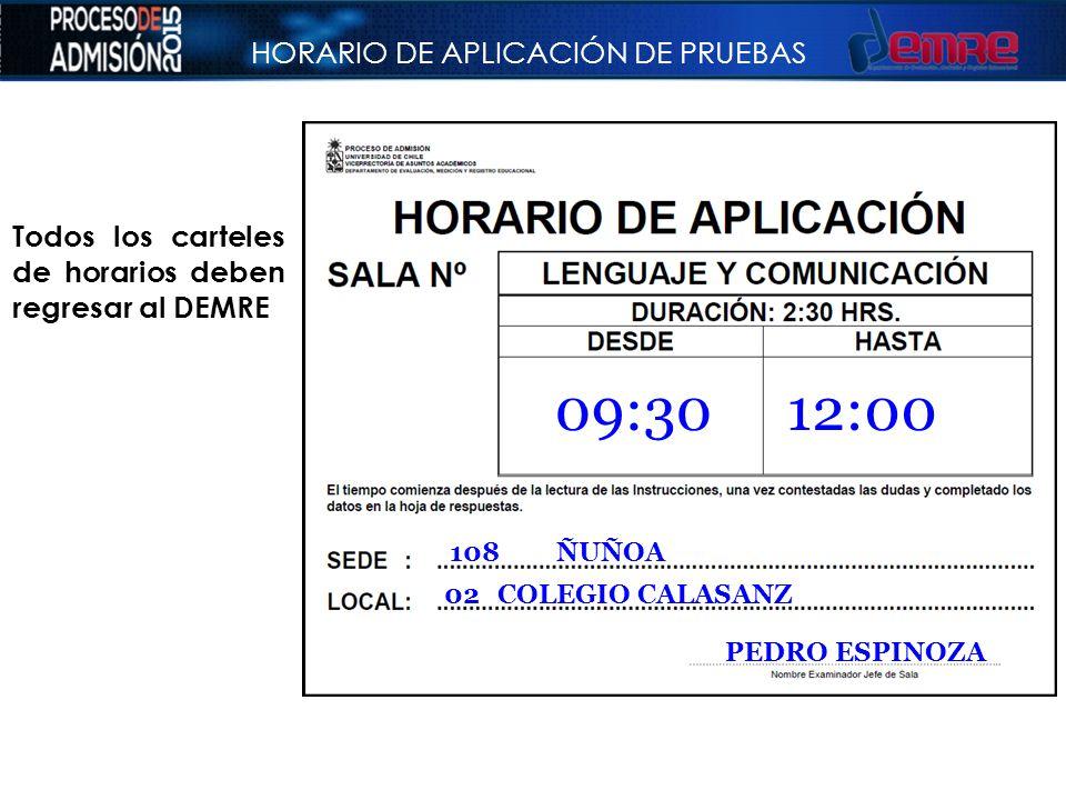 HORARIO DE APLICACIÓN DE PRUEBAS