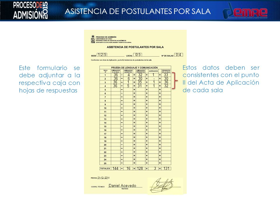 ASISTENCIA DE POSTULANTES POR SALA