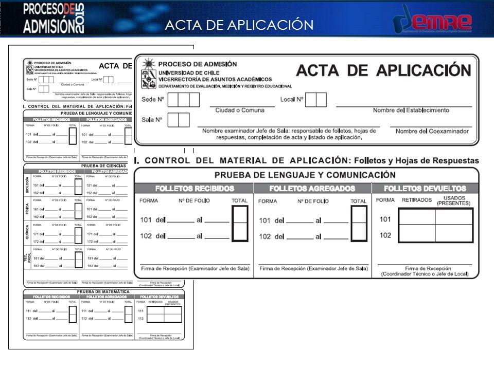 ACTA DE APLICACIÓN