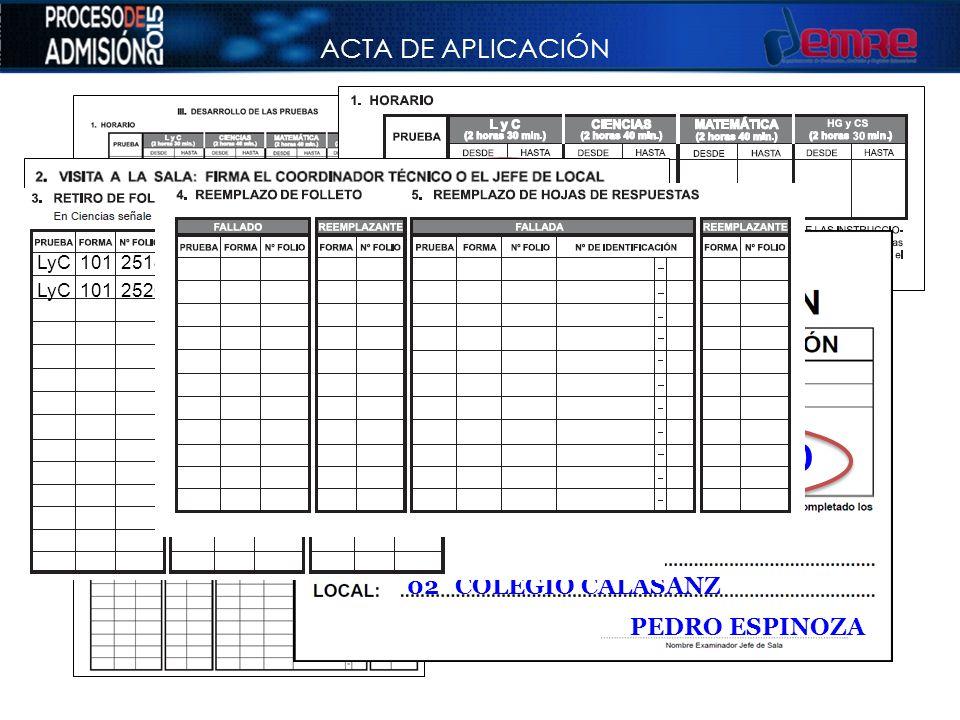 09:30 12:00 ACTA DE APLICACIÓN 108 ÑUÑOA 02 COLEGIO CALASANZ