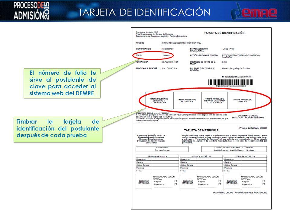 TARJETA DE IDENTIFICACIÓN