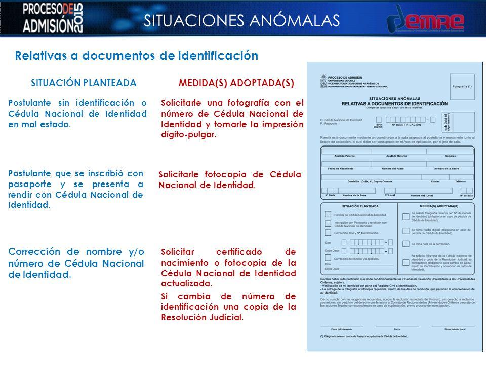 Relativas a documentos de identificación