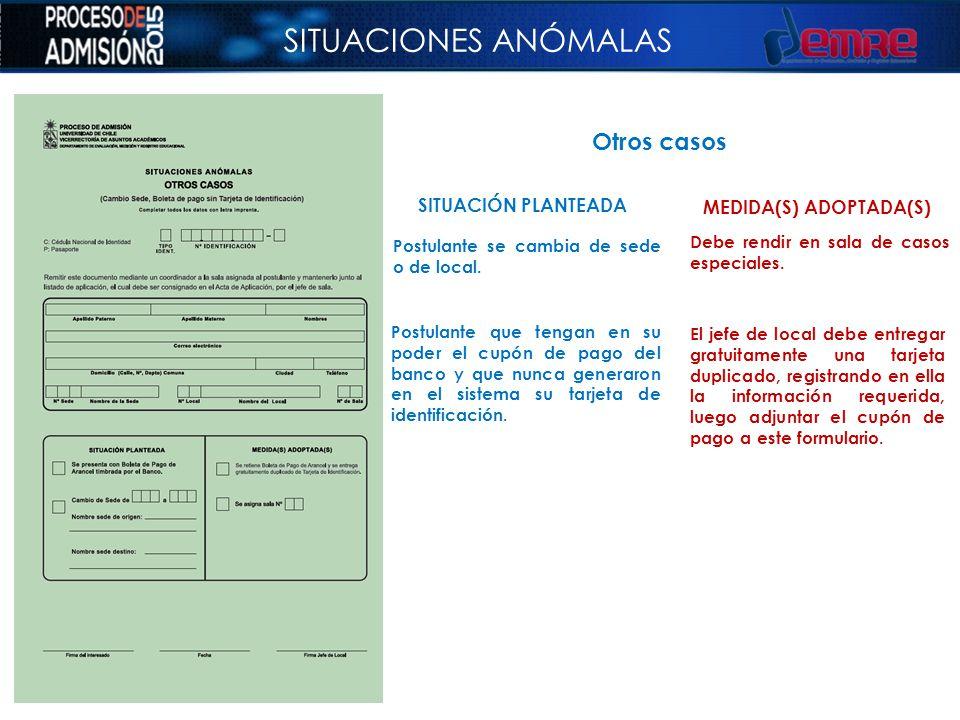 SITUACIONES ANÓMALAS Otros casos SITUACIÓN PLANTEADA